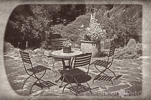 Abkhazi Garden Victoria BC patio, sepia tone