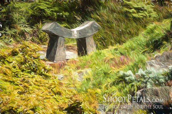 Abkhazi Garden stone bench.