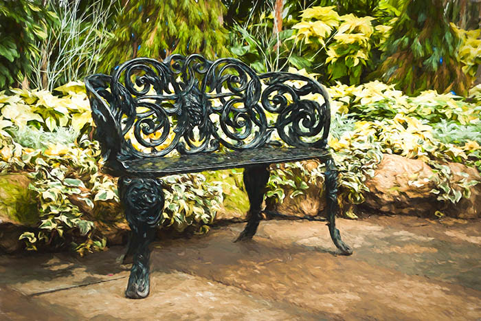 Allan Gardens Christmas Show - Metal Bench in the Palm House.