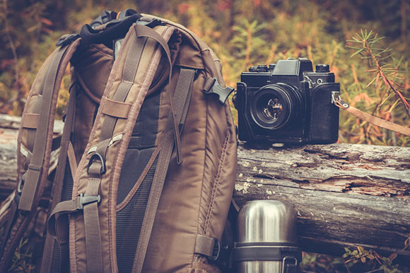 Camera backpack and camera, camping.