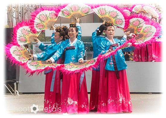 South Korean traditional fan dancers
