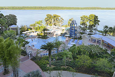 Disney World Bay Lake Tower hotel has a pool and a pretty garden.