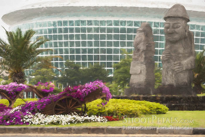Floral Display & Dol Hareubang At International Convention Center, Jeju Island