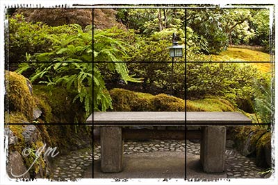 Stone bench in the Japanese Garden