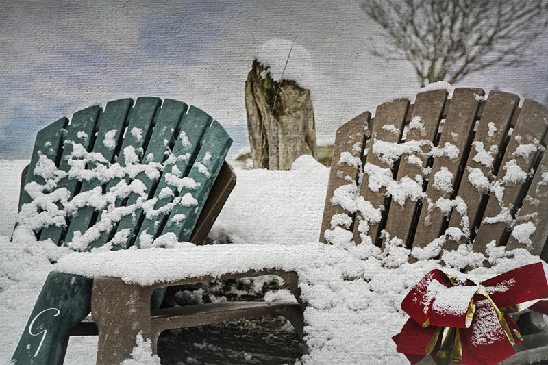 Winter Snow On Chairs At the Beach