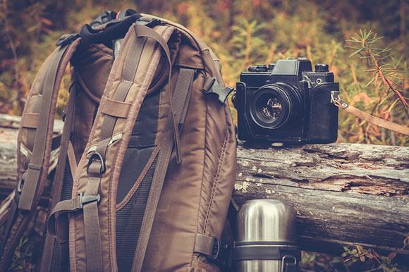 Camera backpack and camera, camping.